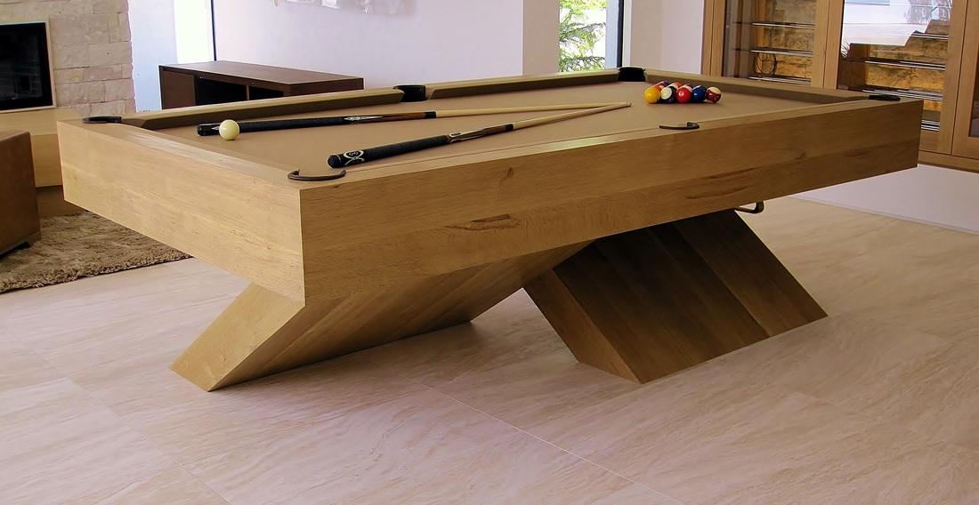 Contemporary Quarter Sawn White Oak X Base Pool Table